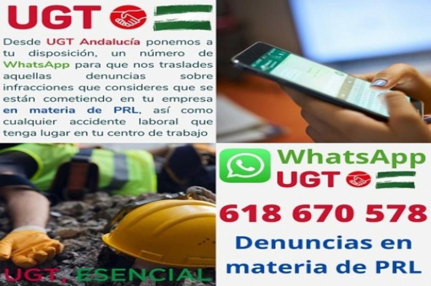 UGT Andalucía habilita un servicio de Whatsapp para denunciar infracciones en PRL