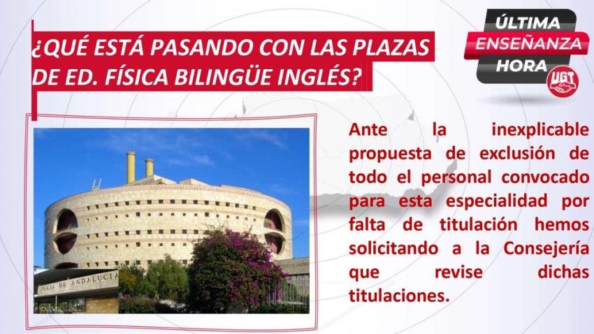¿Qué está pasando con las plazas de ED. Física primaria Bilingüe Inglés?