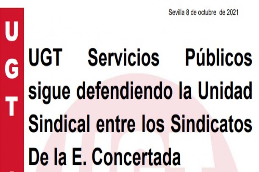 UGT Servicios Públicos sigue defendiendo la Unidad Sindical entre los Sindicatos De la Concertada